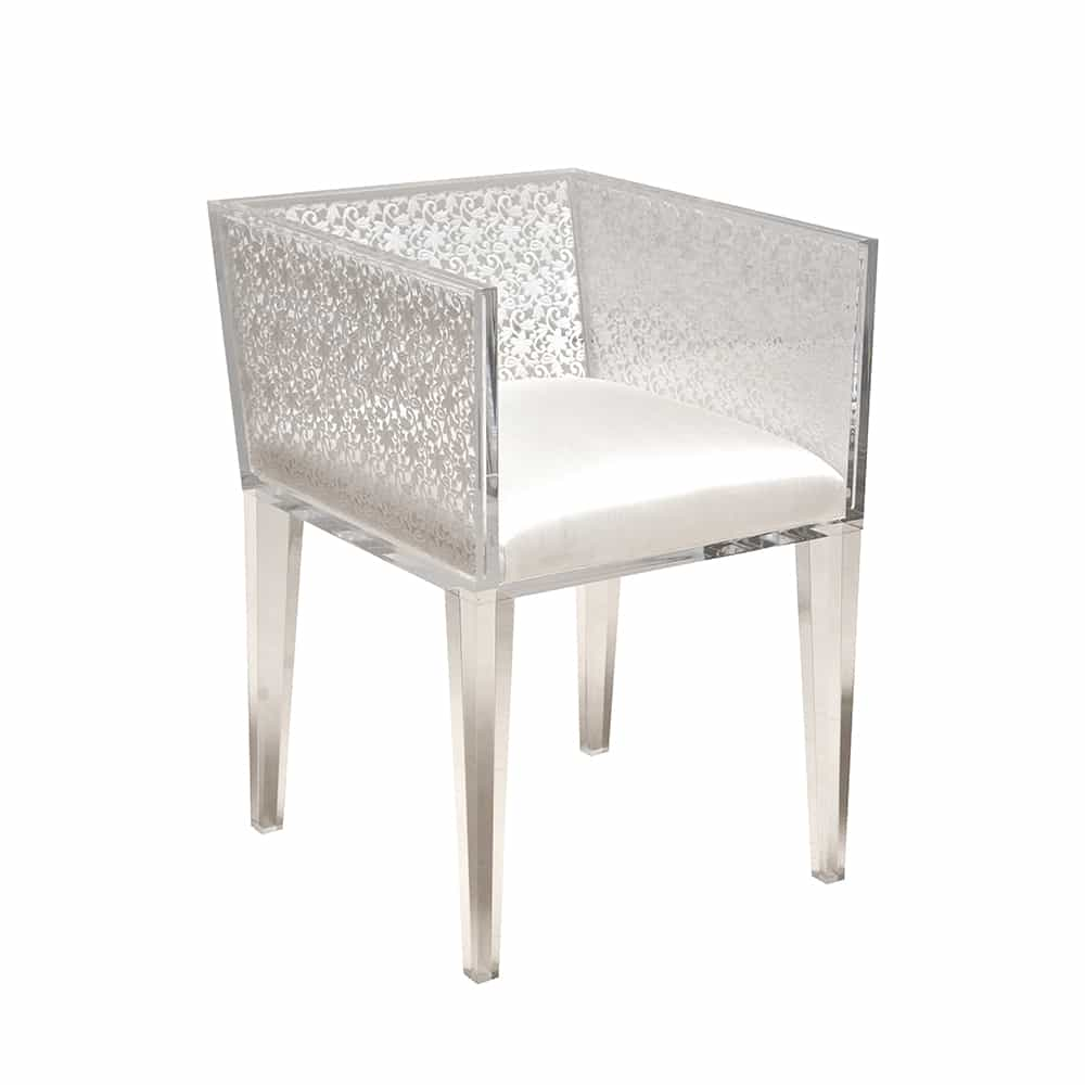 White Floral Lace Chair