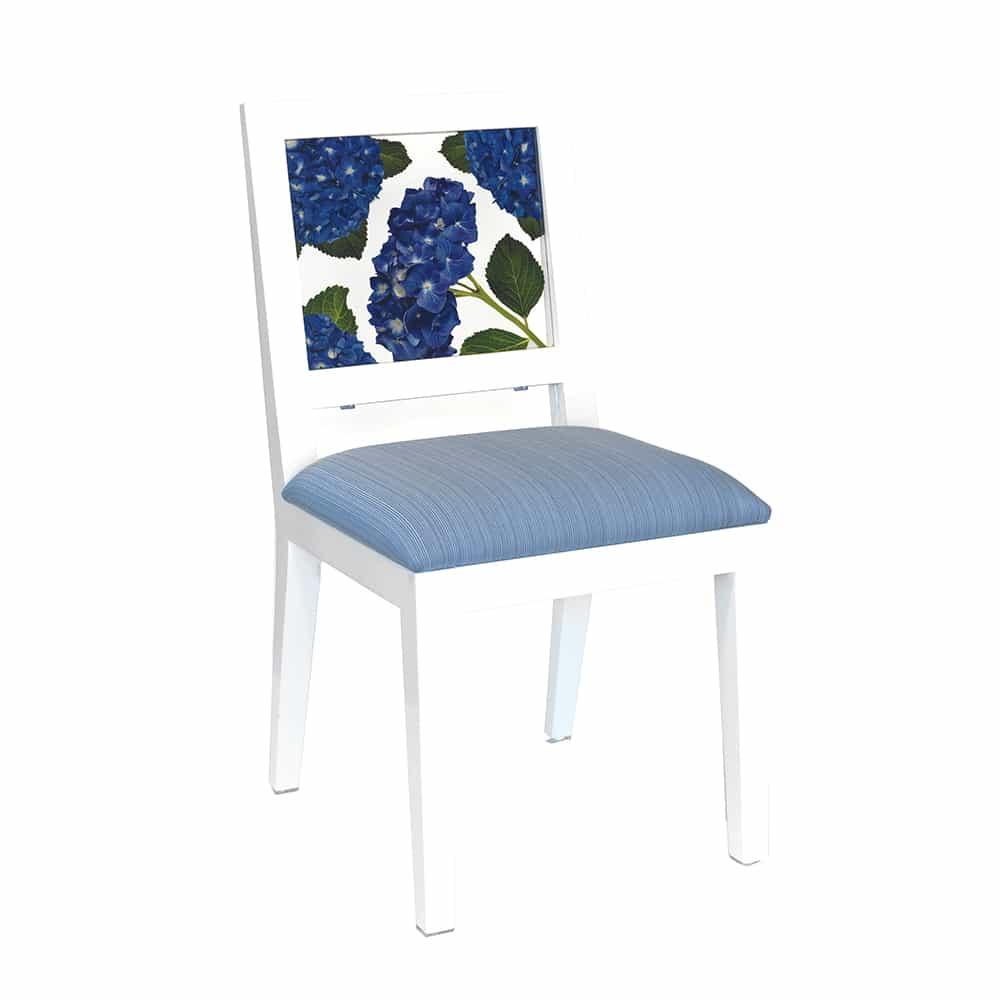 blue hydrangea window chair