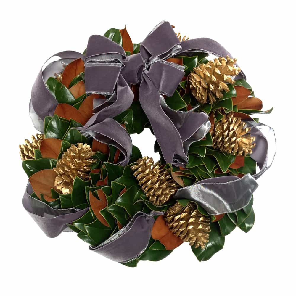 Metallic Magnolia Wreath
