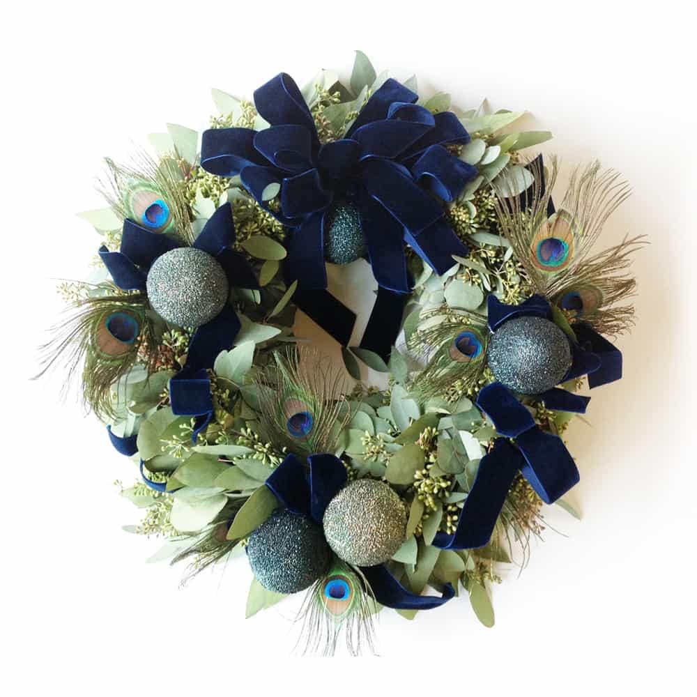 Midnight Blue Peacock Wreath