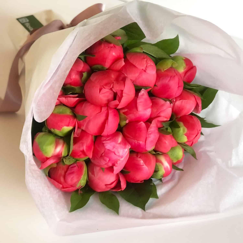 2 dozen Wrapped Coral Peony Bouquet